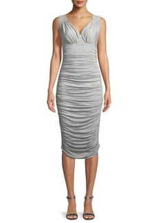 Norma Kamali Tara Ruched Sleeveless V-Neck Cocktail Dress