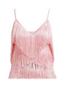 Norma Kamali Tiered-fringe stretch-jersey crop top
