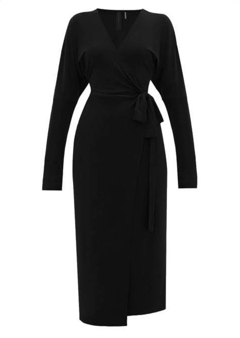 Norma Kamali V-neck dolman-sleeve jersey wrap dress