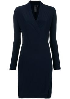 Norma Kamali V-neck fitted midi dress - Blue