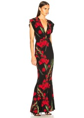 Norma Kamali V-Neck Rectangle Gown