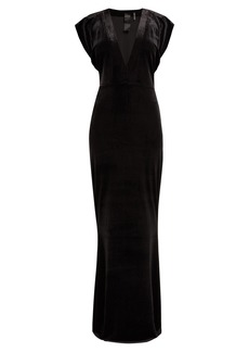 Norma Kamali V-neck velvet maxi dress