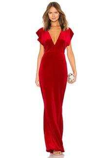 Norma Kamali V Neck Velvet Rectangle Dress