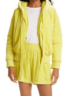 Norma Kamali Velvet Hooded Bomber Jacket
