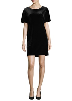 Norma Kamali Velvet Short-Sleeve Shift Dress
