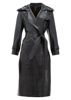 Norma Kamali Waist-tie coated-jersey trench coat