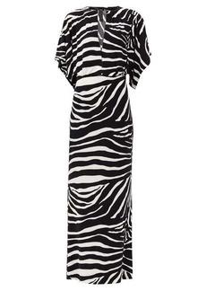 Norma Kamali Waterfall-sleeve zebra-print maxi dress