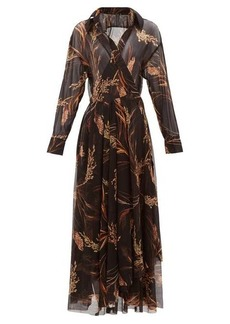 Norma Kamali Wheat-print wrap midi dress