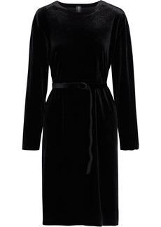 Norma Kamali Woman Belted Stretch-velvet Dress Black