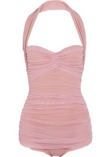 Norma Kamali Woman Bill Mio Ruched Stretch-tulle Swimsuit Pastel Pink