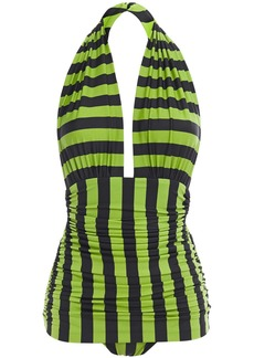 Norma Kamali Woman Bill Mio Ruched Striped Halterneck Swimsuit Lime Green