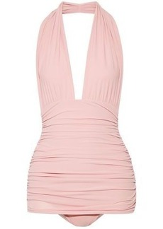 Norma Kamali Woman Bill Ruched Halterneck Swimsuit Baby Pink