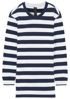Norma Kamali Woman Boyfriend Striped French Cotton-blend Terry Sweatshirt Navy