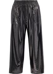Norma Kamali Woman Cropped Lamé Wide-leg Pants Gunmetal
