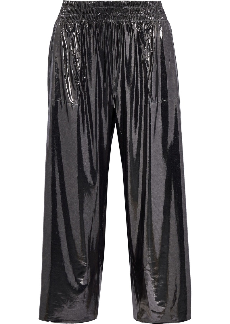 Norma Kamali Woman Cropped Lamé Wide-leg Pants Gunmetal
