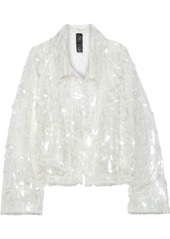 Norma Kamali Woman Cropped Sequined Tulle Jacket Off-white
