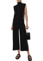 Norma Kamali Woman Cropped Striped Stretch-jersey Wide-leg Pants Black