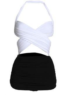 Norma Kamali Woman Cutout Ruched Two-tone Swimsuit White