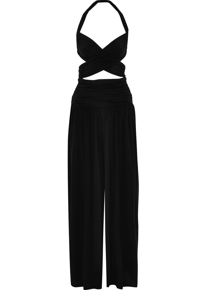 Norma Kamali Woman Cutout Stretch-jersey Halterneck Wide-leg Jumpsuit Black
