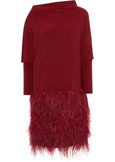 Norma Kamali Woman Faux Feather-paneled Draped Stretch-jersey Dress Claret