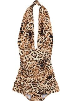 Norma Kamali Woman Halter Bill Ruched Leopard-print Halterneck Swimsuit Animal Print