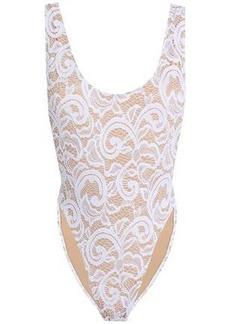 Norma Kamali Woman Marissa Stretch-lace Swimsuit White