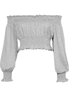 Norma Kamali Woman Off-the-shoulder Cropped Mélange Stretch-jersey Top Light Gray