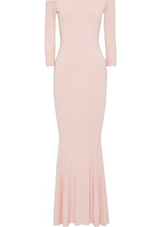 Norma Kamali Woman Off-the-shoulder Fluted Stretch-cady Gown Blush