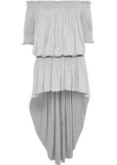 Norma Kamali Woman Off-the-shoulder Gathered Mélange Stretch-jersey Mini Dress Light Gray