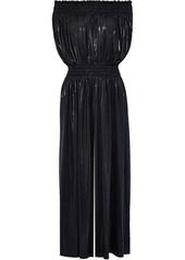 Norma Kamali Woman Off-the-shoulder Shirred Lamé Wide-leg Jumpsuit Black