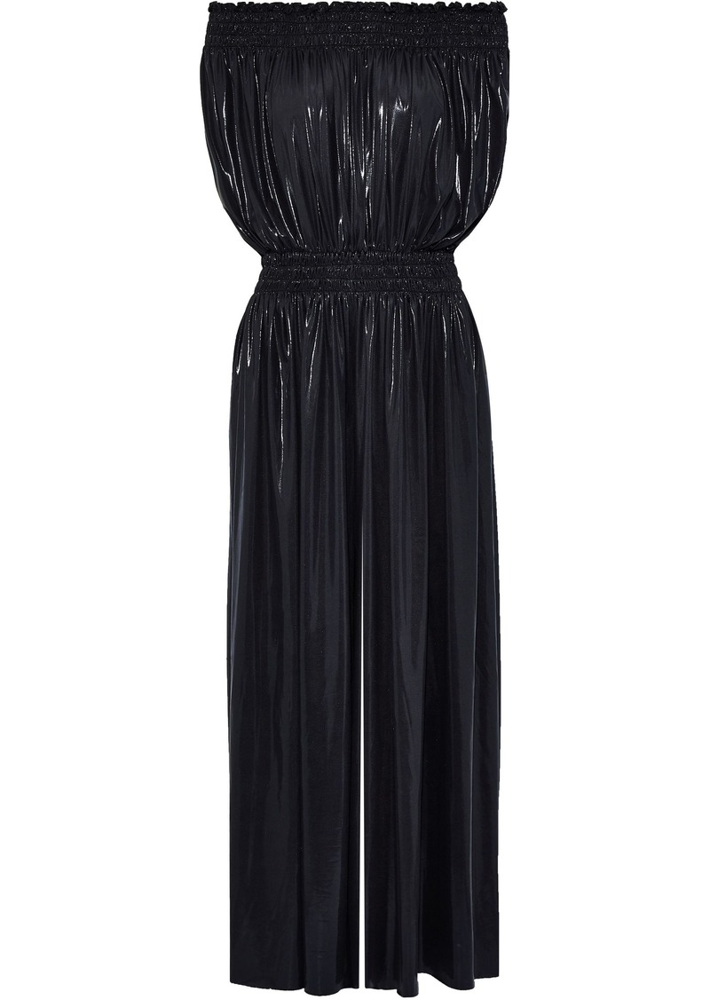 Norma Kamali Woman Off-the-shoulder Shirred Lamé Wide-leg Jumpsuit Black
