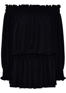 Norma Kamali Woman Off-the-shoulder Shirred Stretch-jersey Blouse Black