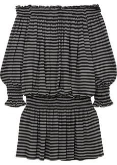 Norma Kamali Woman Off-the-shoulder Shirred Striped Stretch-jersey Mini Dress Dark Gray