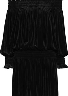Norma Kamali Woman Off-the-shoulder Shirred Velvet Mini Dress Black