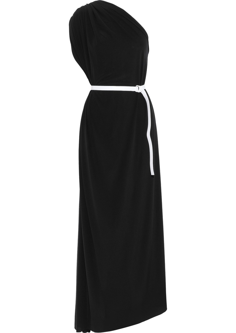 Norma Kamali Woman One-shoulder Belted Stretch-jersey Gown Black