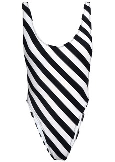 Norma Kamali Woman Open-back Striped Swimsuit Black