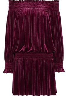Norma Kamali Woman Peasant Off-the-shoulder Velvet Mini Dress Burgundy