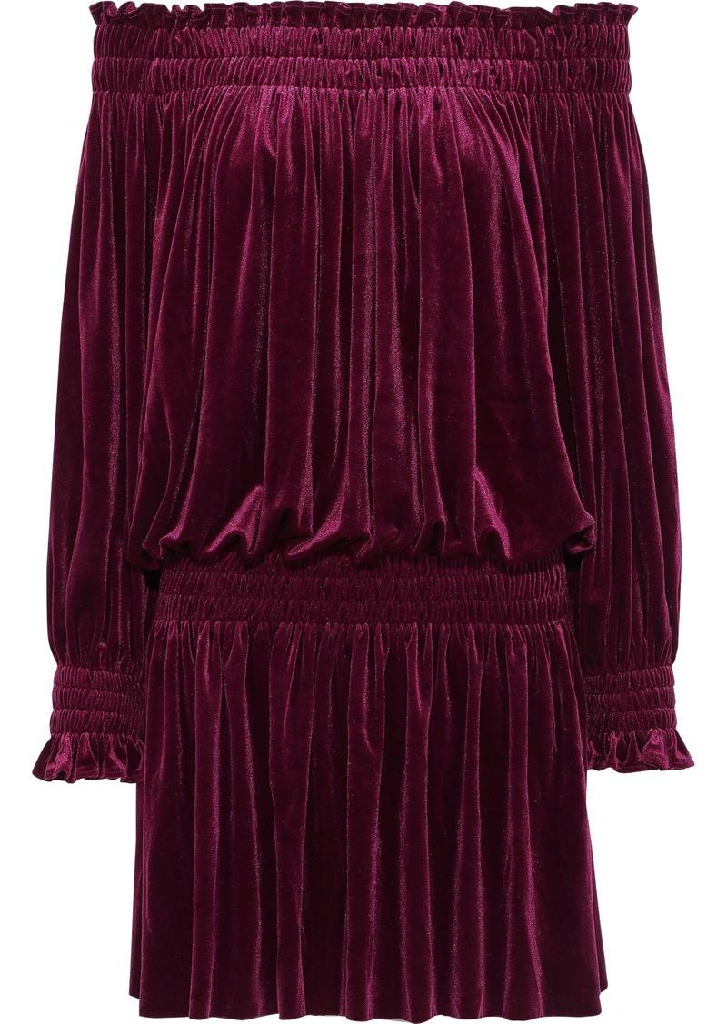 Norma Kamali Woman Peasant Off-the-shoulder Velvet Mini Dress Burgundy