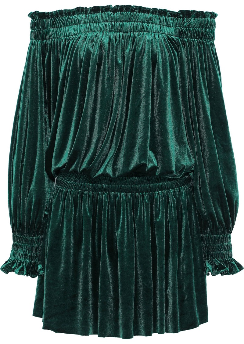 Norma Kamali Woman Peasant Off-the-shoulder Velvet Mini Dress Emerald