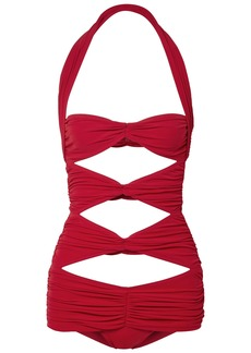 Norma Kamali Woman Peekaboo Mio Cutout Ruched Halterneck Swimsuit Red