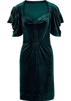 Norma Kamali Woman Pleated Stretch-velvet Mini Dress Emerald