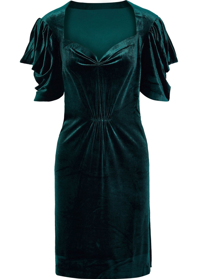 Norma Kamali Woman Pleated Stretch-velvet Mini Dress Emerald