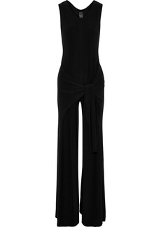 Norma Kamali Woman Racer Side Tie Stretch-jersey Wide-leg Jumpsuit Black