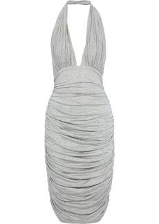 Norma Kamali Woman Ruched Mélange Stretch-jersey Halterneck Dress Light Gray