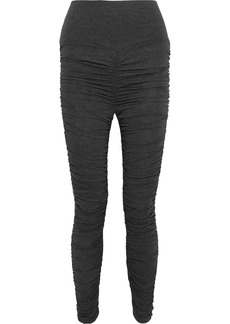 Norma Kamali Woman Ruched Mélange Stretch-jersey Leggings Dark Gray