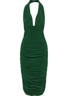 Norma Kamali Woman Ruched Stretch-jersey Halterneck Dress Green