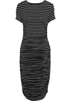 Norma Kamali Woman Ruched Striped Stretch-jersey Dress Charcoal