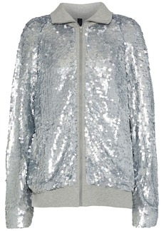 Norma Kamali Woman Sequined Tulle And Cotton-jersey Jacket Light Gray