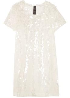 Norma Kamali Woman Sequined Tulle Mini Dress Ecru