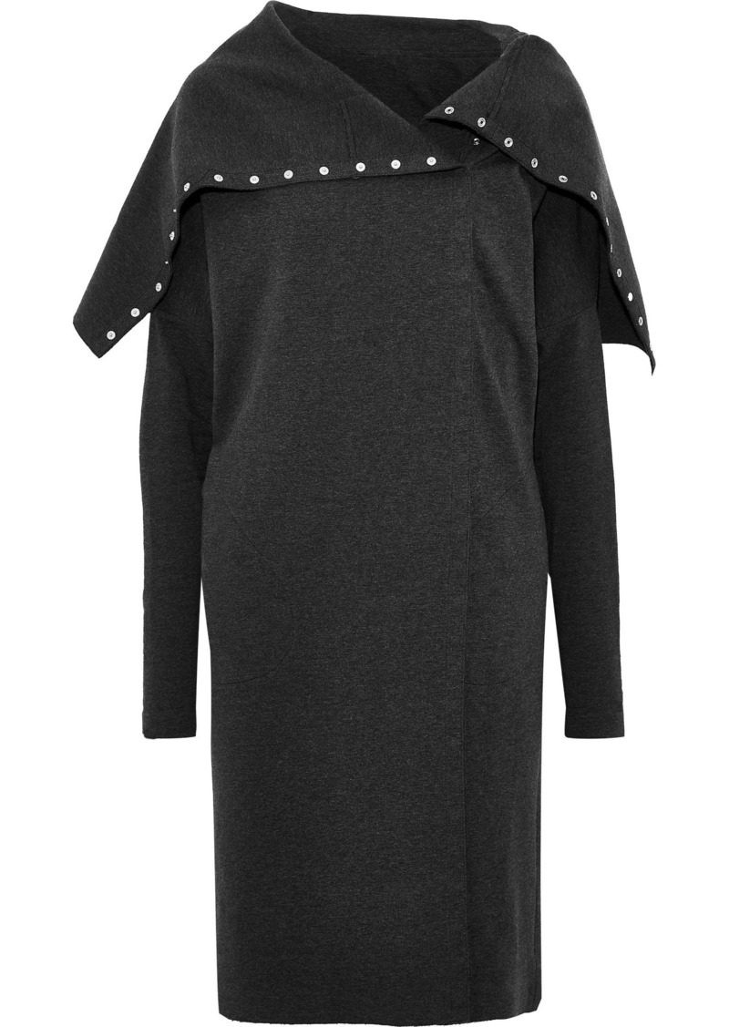 Norma Kamali Woman Snap-detailed French Cotton-blend Terry Dress Charcoal